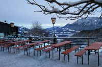 Terrasse Berggasthof Hocheck im Winter